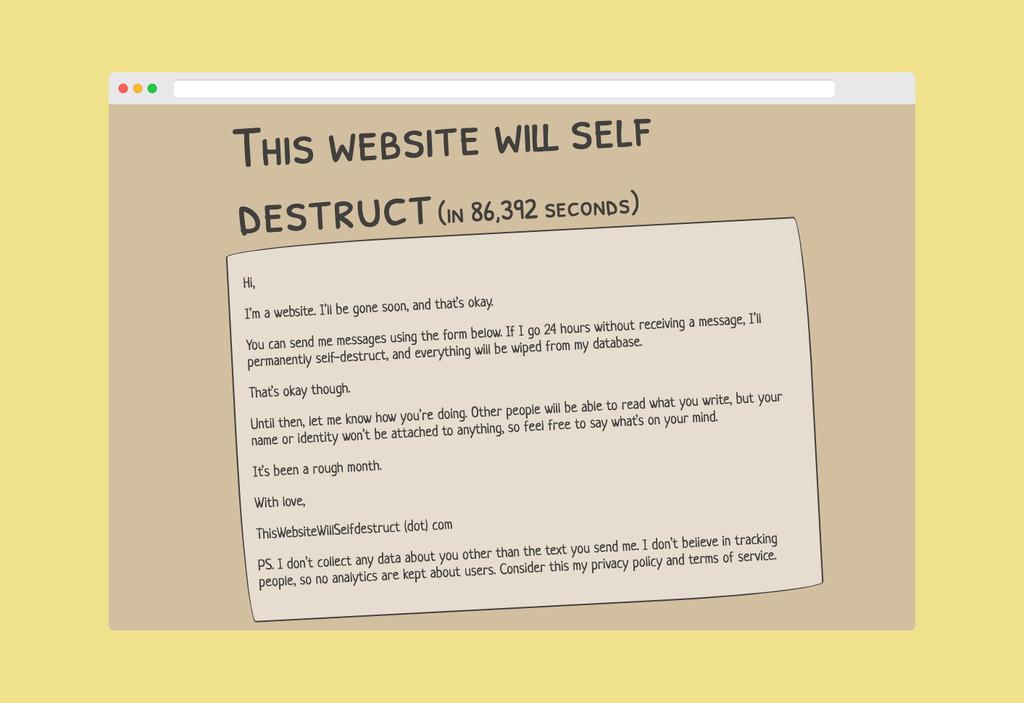 Esta web se autodestruirá en 24 horas si no le enviamos un mensaje