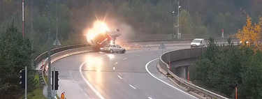 No, adelantar en un viaducto y lloviendo no era una buena idea: muere un camionero por un conductor que perdió el control de su coche