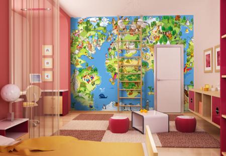 Una buena idea: murales educativos en un cuarto infantil