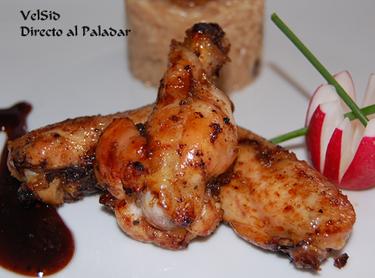 Alitas de pollo con arroz al coco