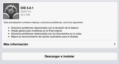 Apple publica iOS 5.0.1, la primera actualización over the air de iOS