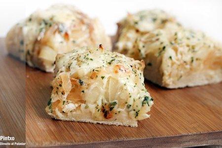 Focaccia de cebolla y queso emmental. Receta