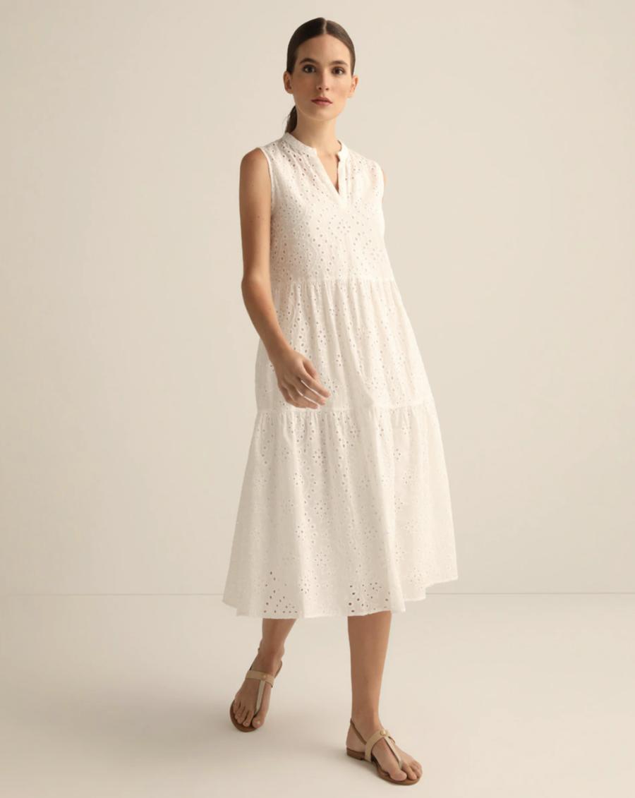 Vestido blanco con calados 100% algodón