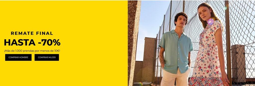 Remate final en Springfield, con descuentos de hasta el 70% en camisetas, vestidos o polos para hombre y mujer