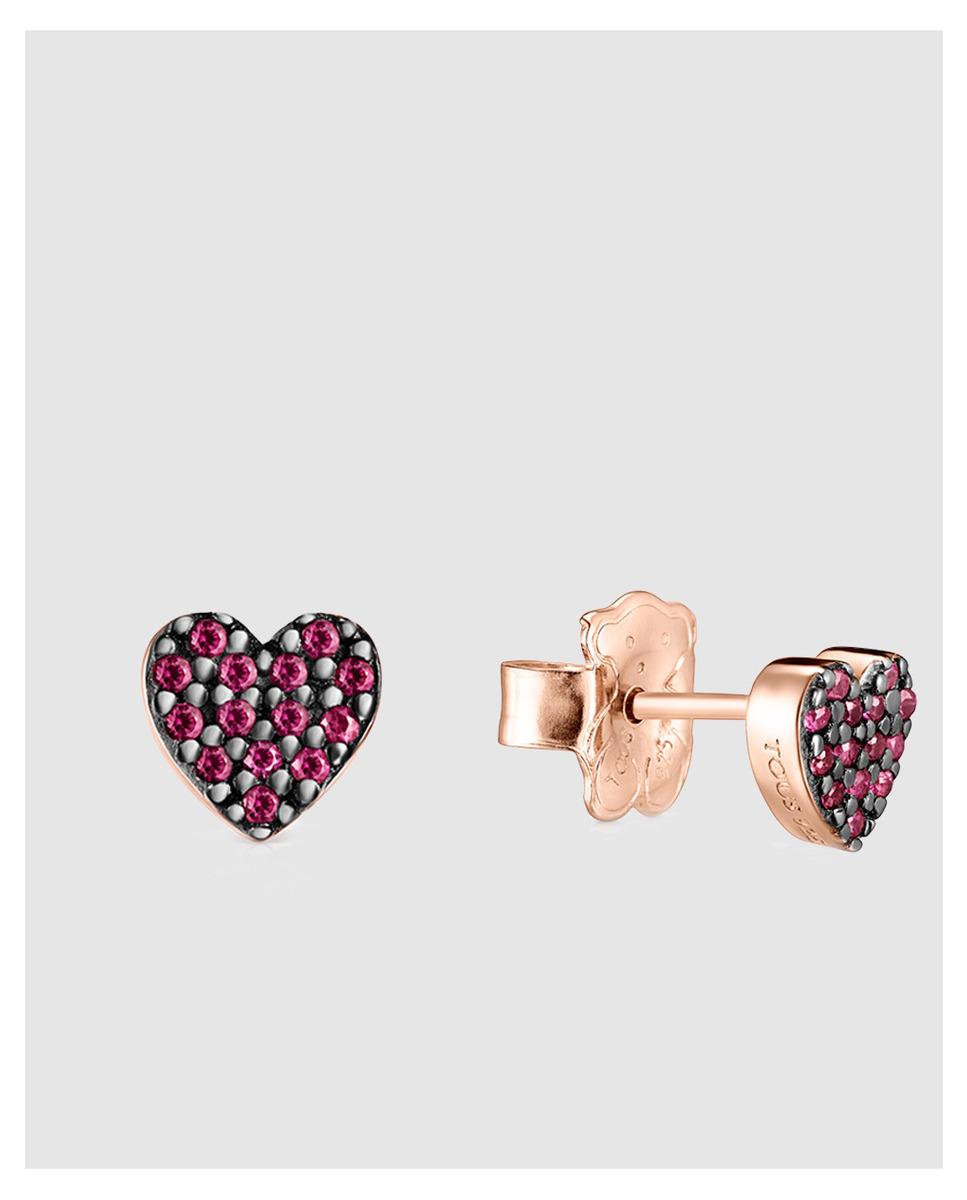 Pendientes Tous San Valentín corazón de oro vermeil rosa con rubíes