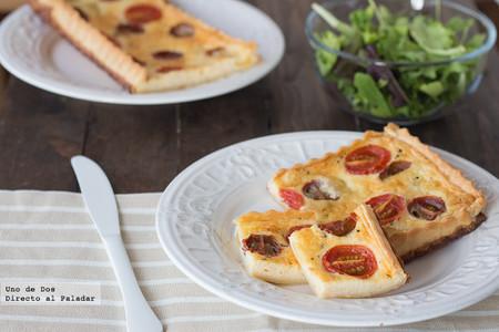 Tarta de tomatitos variados y mozzarella. Receta