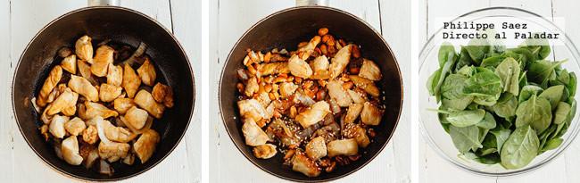 Ensalada Espinacas Pollo Receta