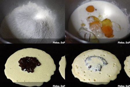 Tortitas rellenas de pasta de alubias. Pasos