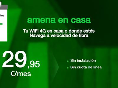 Amena en casa crece como alternativa a la fibra: nuevo bono extra de 20 GB por 9,95 euros