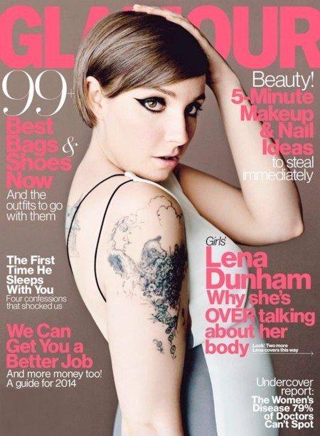 Lena Dunham muestra su cara (y brazo) en Glamour