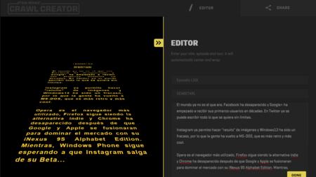 Creando tu propia cabecera de Star Wars con Crawl Creator en HTML5. La imagen de la semana