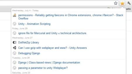 Accede más rápido a los últimos marcadores guardados en Chrome con Recent Bookmarks
