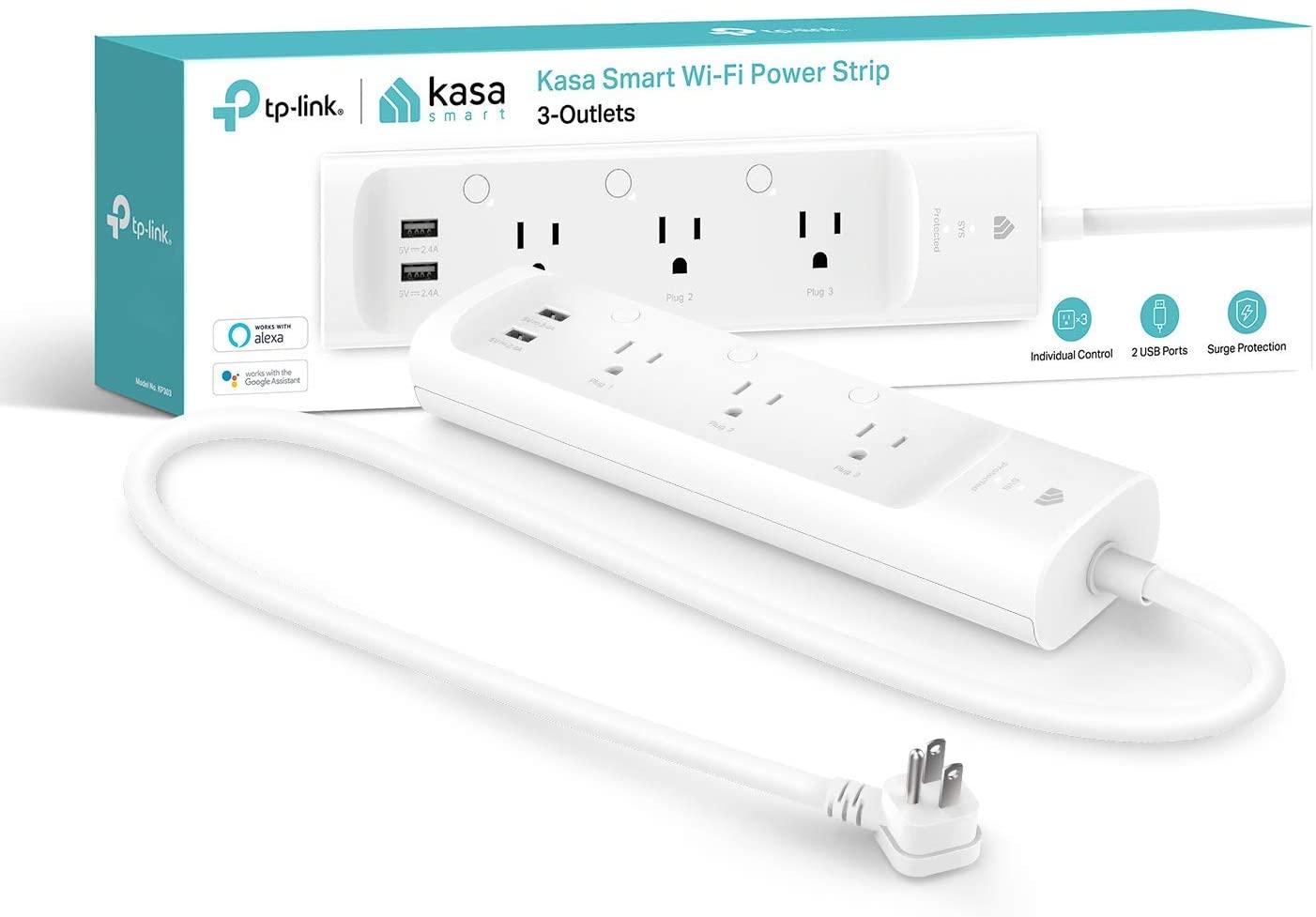 Kasa Smart Power Strip KP303 - Tres tomas inteligentes y dos puertos USB, funciona con Alexa y Google Home Assistant