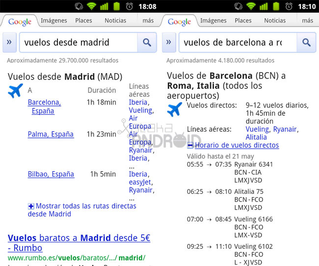 Google Search: Vuelos