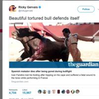 Ricky Gervais embiste a los taurinos en redes sociales al defender al toro que mató a Iván Fandiño