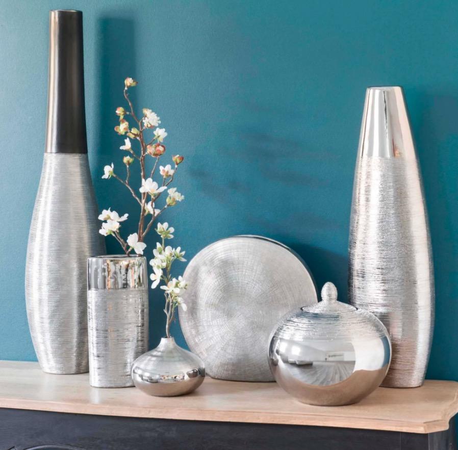 Jarrón de cerámica plateada Silver Al. 59 cm