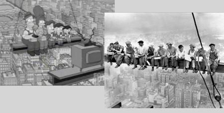 Los Simpson parodiando fotografías históricas