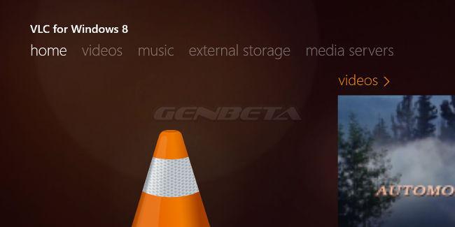 VLC para Windows 8, menú principal