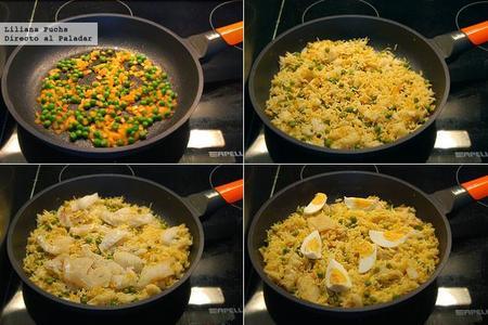 Arroz al curry con bacalao y huevo. Receta