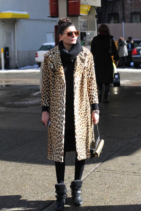New York Fashion Week 2013 Street Style Collage Vintage Giovanna Battaglia Leopard Coat