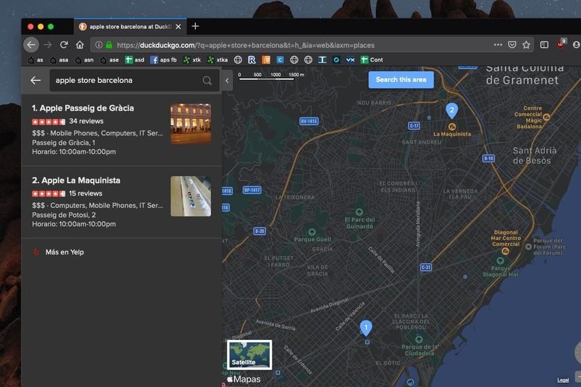DuckDuckGo refuerza su integración con los mapas de Apple añadiendo el tema oscuro y nuevas pestañas
