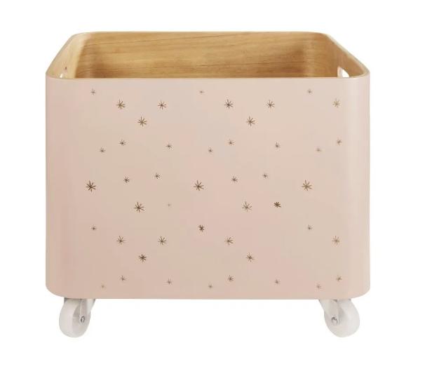 Caja para juguetes con ruedas de paulonia rosa pastel