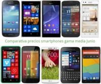 Comparativa precios Huawei G6, Xperia M2, LG G2 mini, Galaxy S4 mini, Moto G, Lumia 625 y otros gama media en junio