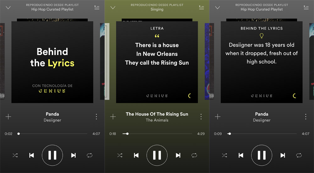 Behind the Lyrics' Spotify already on Android: lettering and