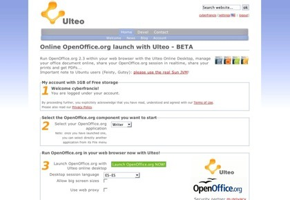 Ulteo, usando Openoffice.org en la web