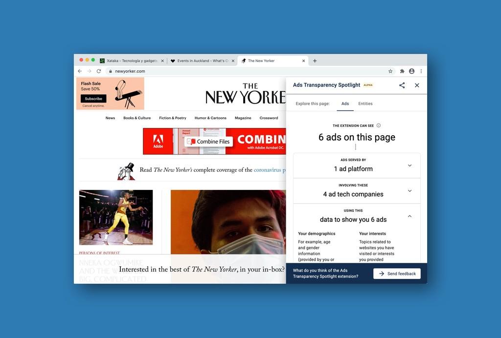Chrome en este instante se chiva de qué avisos hay en cada web, la info que recopilan y a qué compañías la envían