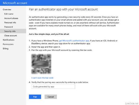Verificación en dos pasos de cuentas Microsoft, aplicación
