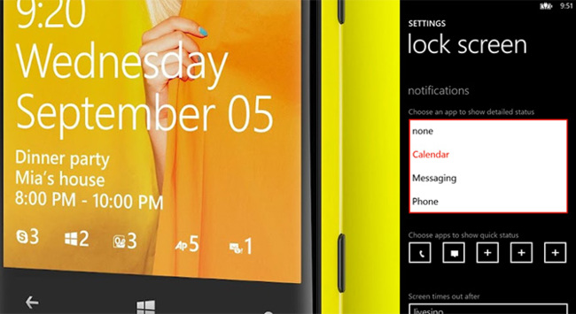 Pantalla de bloqueo de Windows Phone 8