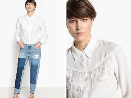 Camisa Con Flecos Y Cuello Polo De Manga Larga