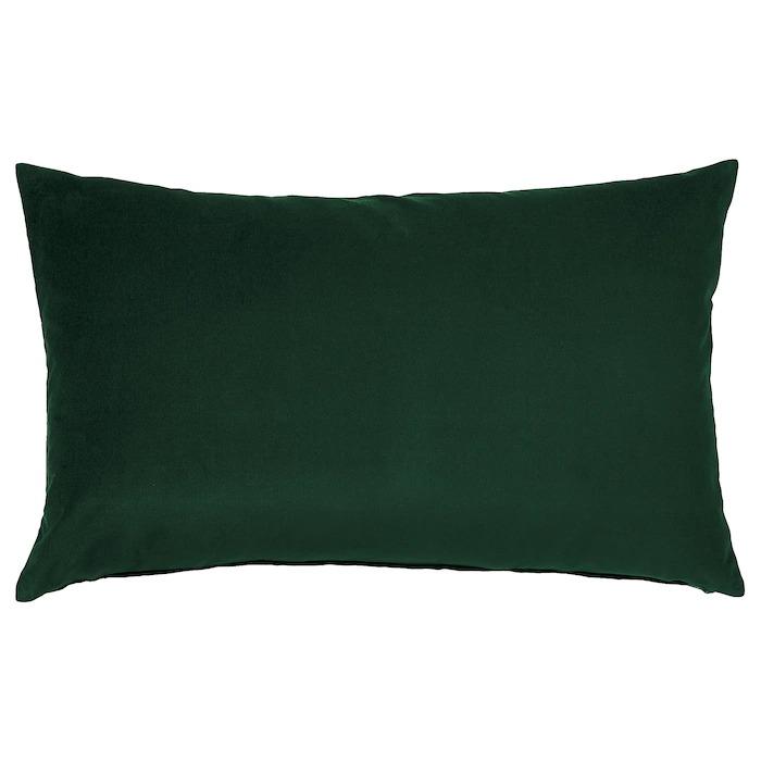 SANELA Funda de cojín, verde oscuro40x65 cm