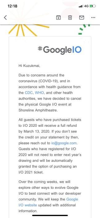 Google I/O 2020 Coronavirus