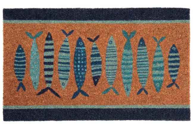 Felpudo con estampado de peces azules 45x75