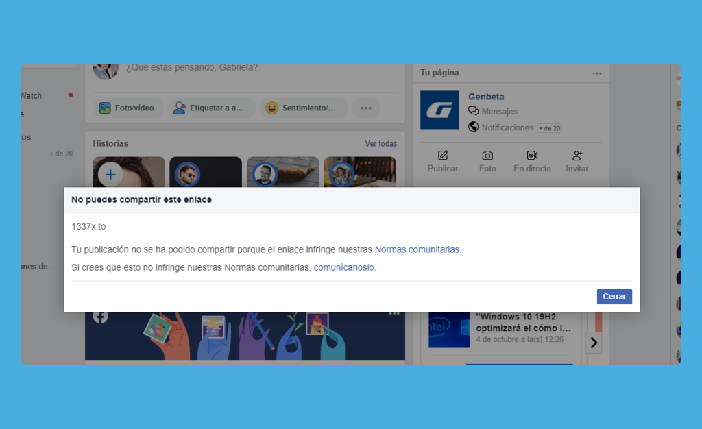 Facebook contra los torrents: ya no puedes compartir enlaces a The Pirate Bay y similares ni en tu muro ni en Messenger