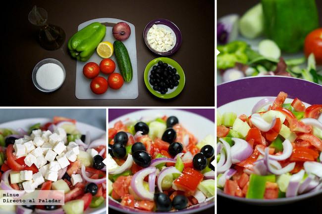 Receta de ensalada griega - elaboración