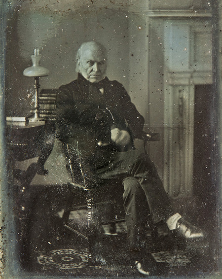 El retrato presidencial más antiguo hasta la fecha. Hecho por Philip Haas en Washington DC en 1843 a  John Quincy Adams.