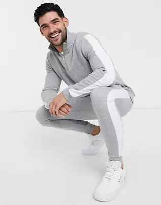 Joggers ajustados y chaqueta de chándal con media cremallera y rayas laterales de ASOS DESIGN