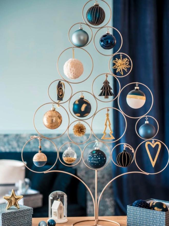 Bola de Navidad de papel azul con estampado gráfico - Lote de 6 piezas -