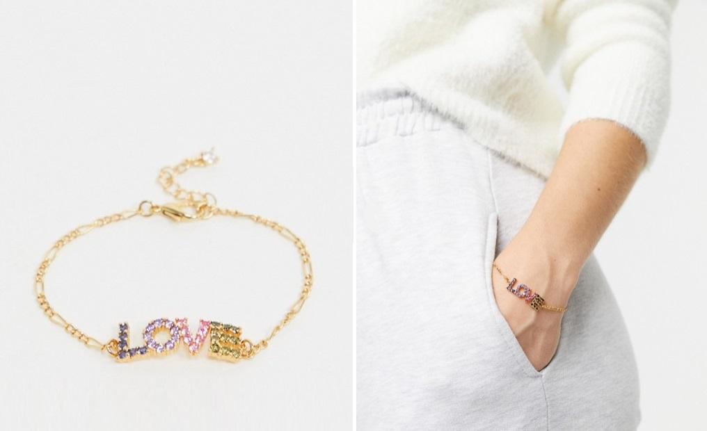 """Pulsera chapada en oro con circonitas multicolor formando la palabra """"Love"""""""
