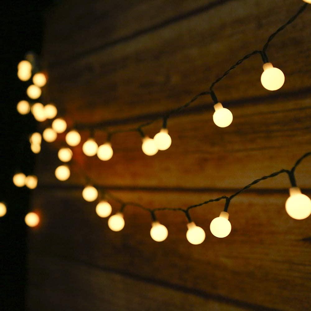 Guirnalda Luces Exterior Solar,Tomshine 50LED 6.9m Cadena de Luces bolas led decorativas,IP44 Impermeable 8 Modos,Guirnaldas Luminosas para Exterior,Interior,Jardines Fiesta de Navidad (Blanco Cálido) [Clase de eficiencia energética A]