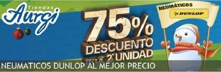 75% de descuento en el segundo neumático Dunlop en Aurgi