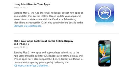 Fin del uso de UDID y compatibilidad obligatoria con la pantalla del iPhone 5 a partir del 1 de mayo