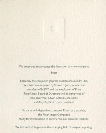 Anuncio oficial de la formación de Pixar