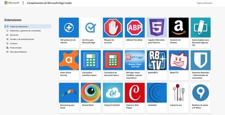 Microsoft ya tiene habilitada la web que permite descargar extensiones para el nuevo Edge al más puro estilo Chrome