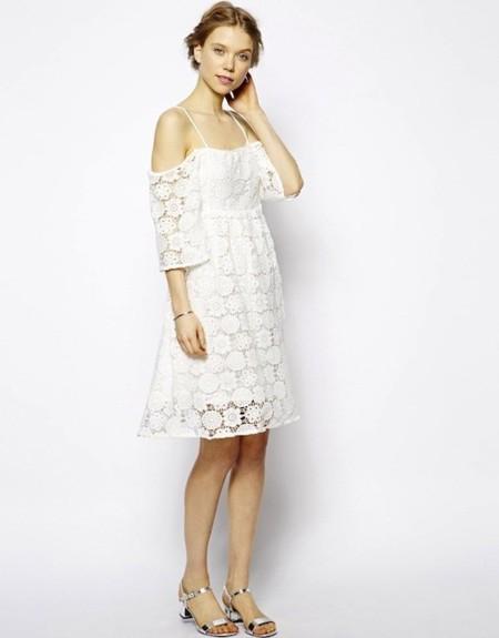 Vestido novia corto crochet