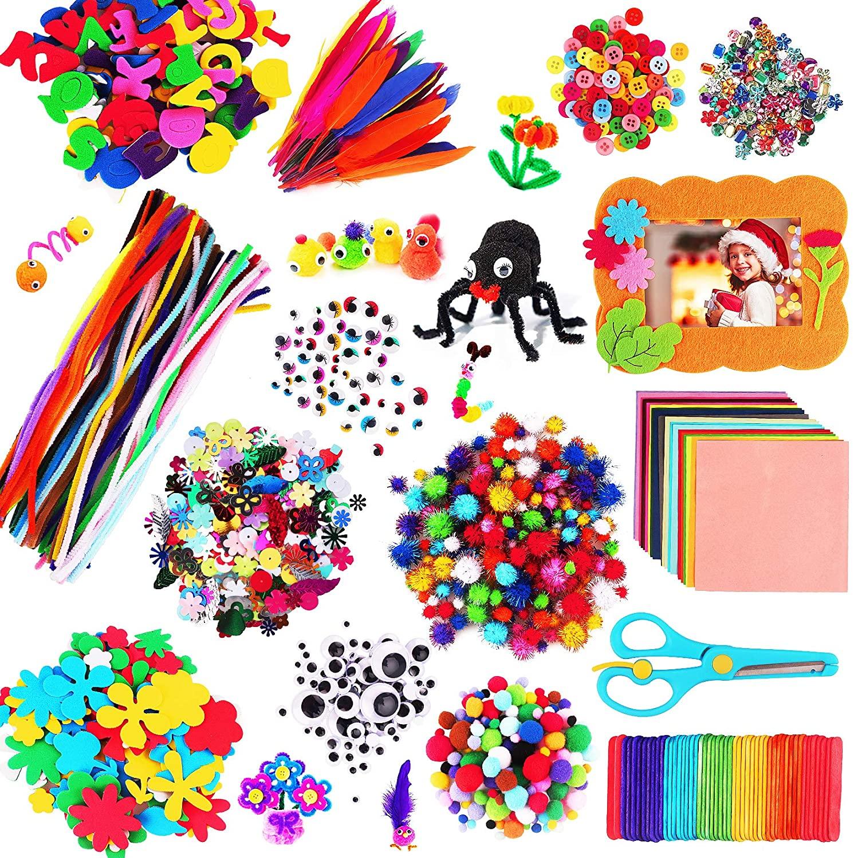 aovowog 1600+ Kit Manualidades Niños,Juegos de Manualidades,DIY Materiales Supplies Arts Crafts Manualidades Set,Juego Creativo Incluye Pompones,Limpiadores de Pipa,Wiggle Eyes,Regalo 5 6 7 8 años