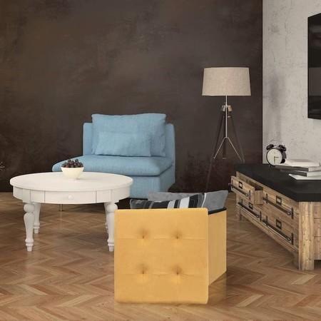The Home Deco Factory Hd3425 Baul Reposapies Plegable Poliester Amarillo 37 50 X 37 50 Cm